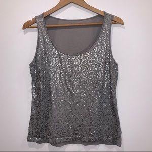 Caslon grey tank top shirt silver sequin front